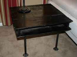 handmade black pallet and iron pipe side table black iron pipe table