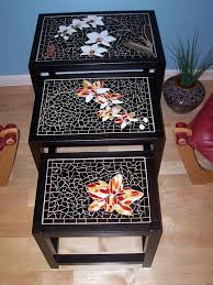 mosaic nesting table set | Mosaic furniture, <b>Mosaic table</b>, Mosaic diy