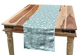 Lunarable Pale Blue Table Runner, Artistic Shabby <b>Chic Curly</b> ...