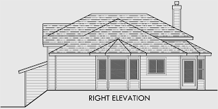 Split Level House Plans  House Plans For Sloping Lots  BedroomHouse rear elevation view for Split level house plans  house plans for sloping lots