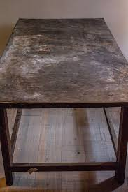 images zinc table top: working table with zinc top tavolo da lavoro wood structure with beautiful zinc sheet table top