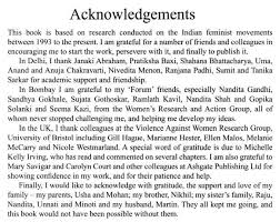 Guidelines for Writing Acknowledgement   Sample Acknowledgements     Write a Writing    Geetanjali Gangoli beautifully acknowledges all those people assisted in the completion of her famous book     Indian Feminisms  Law  Patriarchies and