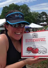 the single girl at the end of the race i got my own personal pizza from papa john s and i was very excited by it
