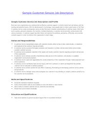 Sample Job Description Customer Service Representative Service Job ... job description good resume sample service technician job description