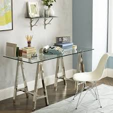 modern home office design furniture ideas sawhorse desk glass top chic home office features