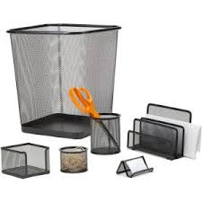 Mind Reader <b>Metal Mesh Desk</b> Organizer Set with Trash Can in <b>Black</b>