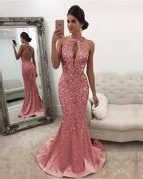 Luxurious <b>Crystal Beaded</b> Mermaid <b>Prom</b> Dresses Halter Open Back ...