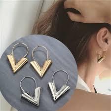 Trend Earrings Brincos Oorbellen <b>Simple</b> Metal <b>Wind</b> Letter <b>V Shape</b> ...