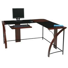 home office glass top corner desk wiith l shape workstation awesome glass corner office desk glass
