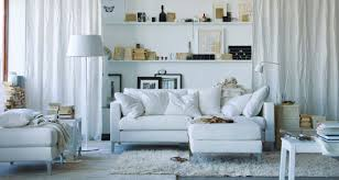 space living ideas ikea: minimalist white nuance ikea small space ideas with white floor lamp on the floor can be