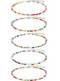 <b>5 Pieces</b> Boho Bead Choker <b>Necklace</b> Handmade Beaded ...