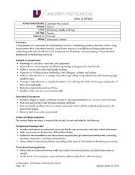 university prep schools teachers elementary middle and high job description 142 teacher u prep schools 1 page 1