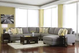 room furniture houston:  houston living room astonishing grey u shape sectional sofa decorated a dark cappuccino cherry side board