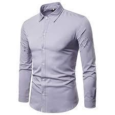 BUSIM Men's <b>Long Sleeve</b> Shirt Arms Openwork Autumn Casual ...