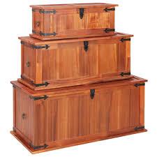 D-Shop <b>Storage Chests 3 pcs</b> Solid Acacia Wood - Design Shop
