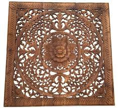 wood carved wall plaque floral