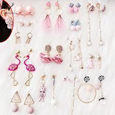 <b>Pink Bow Tie</b> Dangle Earrings for Women Rhinestone Drop Earings ...