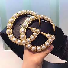 <b>Women Pearl Belt</b> Leather Black Waist <b>Belt</b> GG Buckle W/7cm For ...
