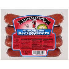 ambassador natural casing beef weiners ct pack com