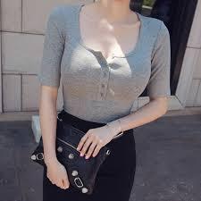 <b>Shintimes</b> Slim T <b>Shirt</b> Women Casual T Shirts For Tees <b>Elasticity</b> ...