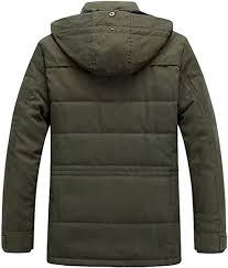 YONGM <b>Mens Casual</b> Long Sleeve Stand Collar Wool Parka <b>Jacket</b> ...