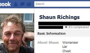 Information about Shaun Richings on the fake Facebook profile set up by the four women from - article-2067216-0EF95DBD00000578-815_468x279