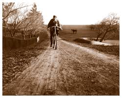 greensborough yallambie harry wragge riding his bicycle at yallambie on the homestead road south of the stableyard