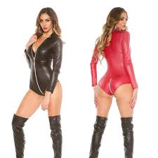 Compre <b>Sexy</b> Manga Comprida <b>Faux Leather Bodysuit</b> Lingerie ...
