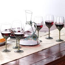 SaicleHome Luxurious <b>Enamel Lead Free Crystal Glass</b> Wine ...