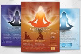 simple yoga meditation flyers flyer templates on creative market