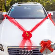 <b>wedding car flower</b> 5m ribbons plate 10 bows door handle rearview ...