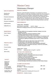 maintenance manager resume  example  job description  samples    maintenance manager resume