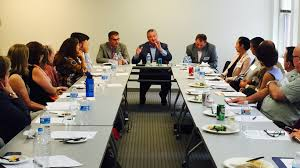 year in review philanthropy network greater philadelphia in board president paul dilorenzo and russell johnson healthspark foundation joined network staff for a meeting the montgomery county