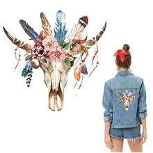 Retro bull flower <b>iron</b> on transfers for clothing cool badge jacket ...