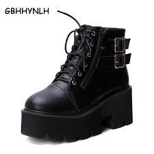<b>GBHHYNLH</b> Fashion Black Ankle Boots For Women Thick <b>Heels</b> ...