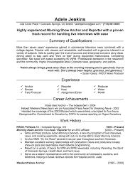 sample resume news anchor a gifnews reporter resume example