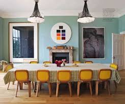 dining table interior design kitchen: long rectangular dining table yellow dining chairs mid century two chandeliers modern