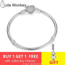 CodeMonkey <b>Hot Sale 100</b>% <b>925</b> Sterling Silver Heart Bracelet Fit ...