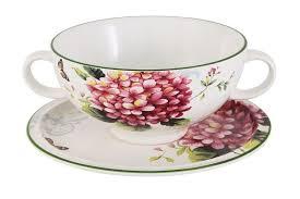 """Суповая чашка на блюдце """"Цветы и птицы"""" – купить в интернет ..."""