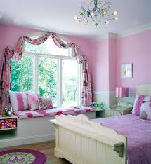 pretty pink teenage girls bedroom design ideas featuring beautiful curtains on glass bay windows and unique beautiful design ideas coolest teenage girl