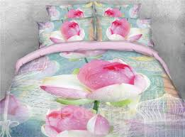 <b>3D</b> Blooming <b>Lotus</b> Printed Cotton 4-Piece Bedding Sets/Duvet Covers