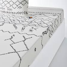 <b>Простыня</b> натяжная из <b>хлопка</b>, afro craft рисунок белый/черный ...