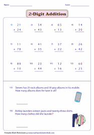 2 Digit Addition Worksheets2-digit Addition with Word Problems. No Regrouping: