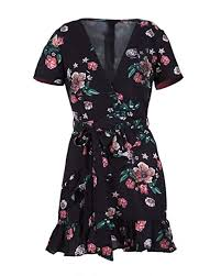 Gogolan <b>Women Sexy</b> V-Neck <b>Floral</b> Short Sleeve Mini <b>Dress</b> at ...
