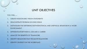 the importance of work unit unit objectives you will create 2 unit objectives