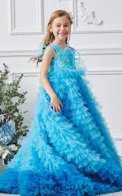 Blue Organza Jewel <b>Sleeveless Floor</b>-<b>length</b> A-line <b>Children's</b> Prom ...