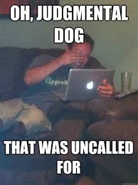 Oh, judgmental dog That was uncalled for - MEME DAD - quickmeme via Relatably.com