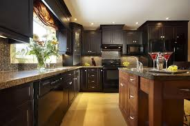 modern kitchen beverage built brown  dark cabinet kitchen designs