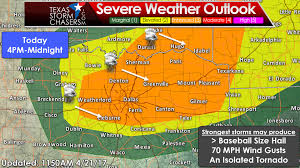 level 3 enhanced severe weather risk expanded texas storm we now have an enhanced risk of severe weather across much of north and northeast texas this includes all of the d fw metroplex east to tyler northeast to