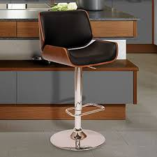 Armen Living London <b>Swivel</b> Barstool in <b>Black Faux Leather</b> and ...